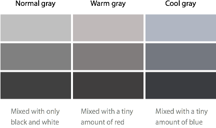 Teoria das cores abordagem para ui dclick Different colours of grey paint
